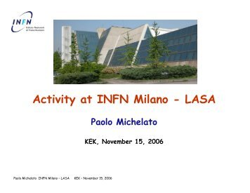 Activity at INFN Milano - LASA - Superconducting RF accelerator ...