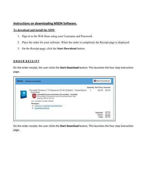 Instructions on downloading MSDN Software