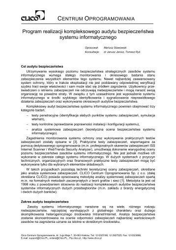 Program realizacji kompleksowego audytu bezpieczeństwa ... - Clico
