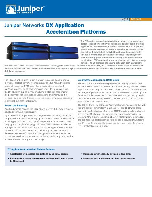 DX application acceleration platform data sheet - Juniper