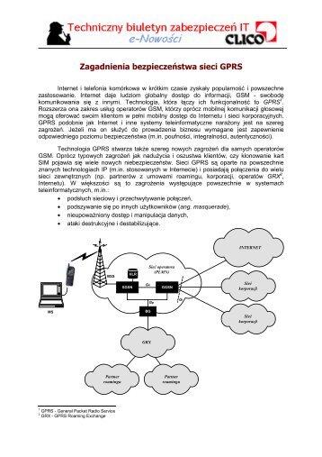 Zagadnienia bezpieczeństwa sieci GPRS - Clico