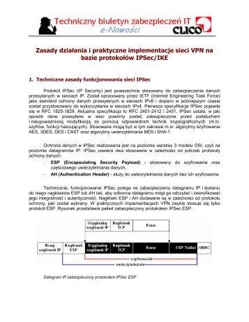 Zasady działania i praktyczne implementacje sieci VPN na ... - Clico