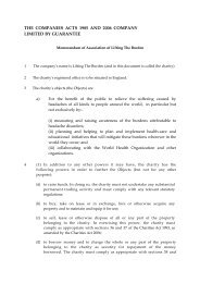 Memorandum and Articles of Association - Lifting The Burden