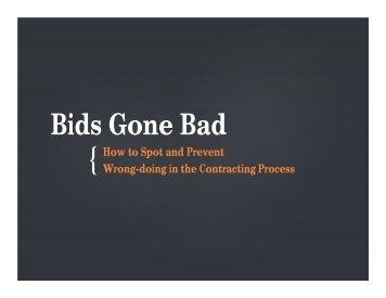 Bids Gone Bad Workshop Presentation