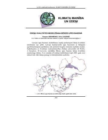 VIDES ZINĀTNE - Klimata maiņas ietekme uz Latvijas ūdeņu vidi