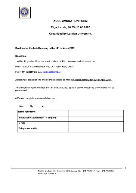 Accommodation booking form [PDF]