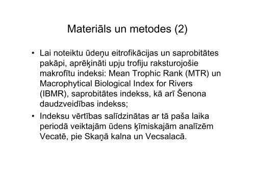Makrofīti kā ūdens kvalitātes indikatori Salacā