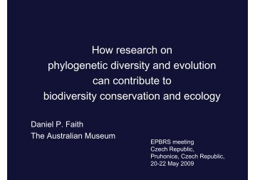 How research on phylogenetic diversity and evolution can ... - epbrs