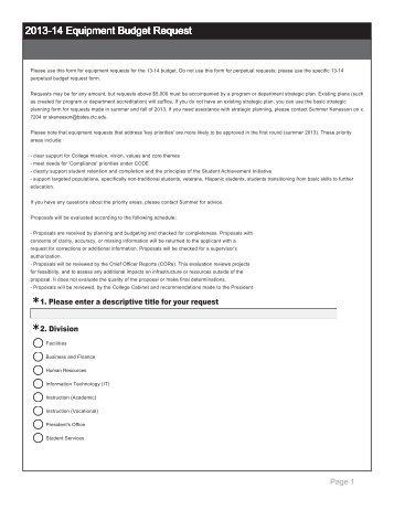 Equipment Budget Request Form   Bates Technical College   Ctc.edu