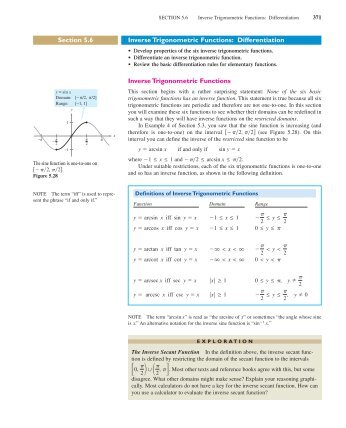 Section 5.6 Inverse Trigonometric Functions: Differentiation Inverse ...