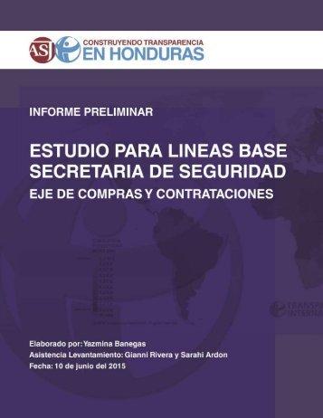 ESTUDIO PARA LÍNEAS DE BASE - SECRETARÍA DE SEGURIDAD. EJE: COMPRAS Y CONTRATACIONES