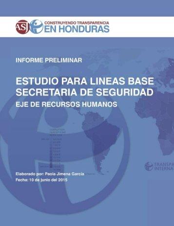 ESTUDIO PARA LÍNEAS DE BASE - SECRETARÍA DE SEGURIDAD. EJE: RECURSOS HUMANOS