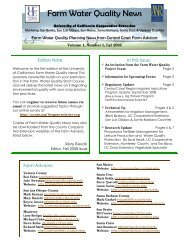Latest edition of the University of California's Farm Water Quality News