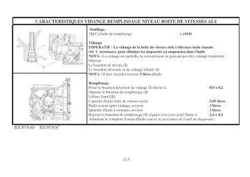 caracteristiques vidange remplissage niveau boite de vitesses al4
