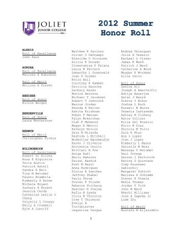 Honor Roll for Summer 2012