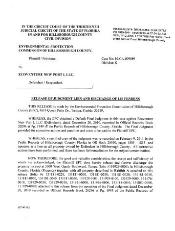 Release of Judgement Lien and Discharge of Lis Pendens