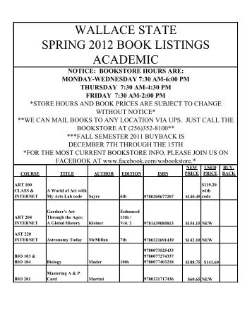 WALLACE STATE SPRING 2012 BOOK LISTINGS ACADEMIC