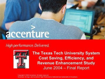 The Texas Tech University System Cost Saving, Efficiency, and ...