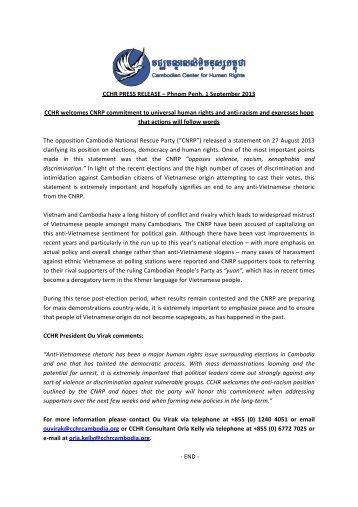CCHR PRESS RELEASE – Phnom Penh, 1 September 2013 CCHR ...