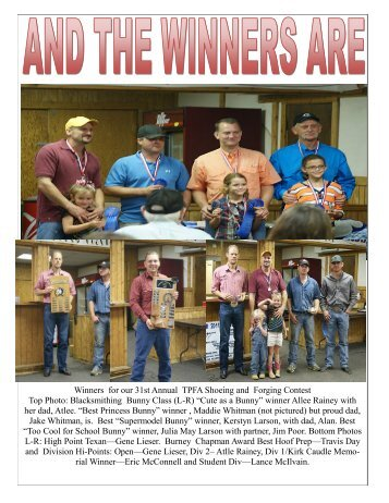 Winners for our 31st Annual TPFA Shoeing and Forging Contest Top ...