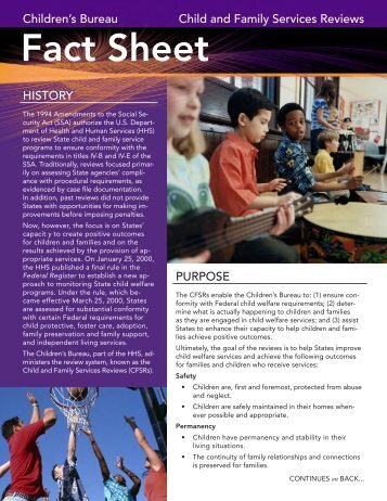 CFSR Fact Sheet - National Child Welfare Resource Center for Tribes