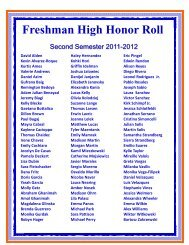 High Honor Roll 2nd 2011 2012 - Fenton High School