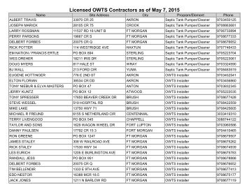Licensed Contractor List - By City Northeast Colorado - Nchd.org
