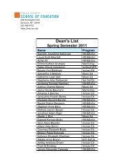 Dean's List Spring Semester 2011