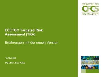 Ecetoc Targeted Risk Assessment - REACH-CLP-Biozid Helpdesk