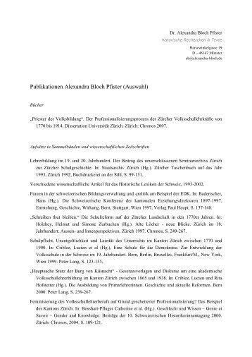 Publikationen (Auswahl) Dr. Alexandra Bloch Pfister (PDF)