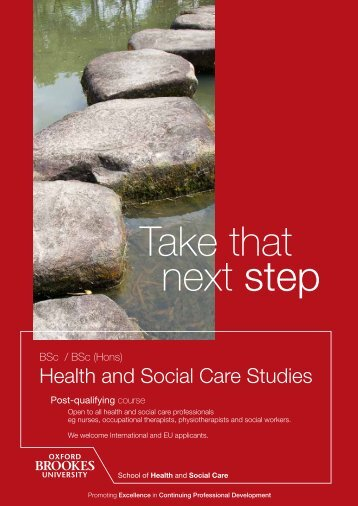 Health and Social Care Studies - Oxford Brookes University