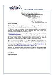 BSc (Hons) Nursing Studies - Oxford Brookes University