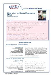 Minor Injury and Illness Management - Oxford Brookes University
