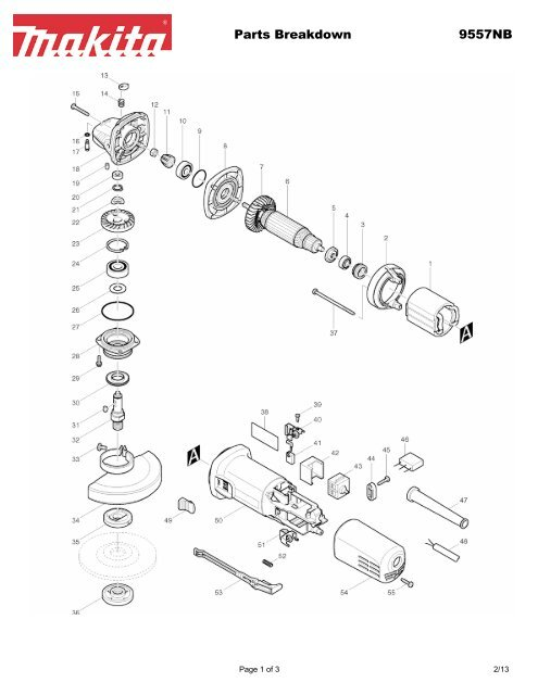 Parts Breakdown 9557NB - Makita on
