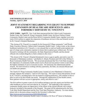 joint statement regarding nys grant to support expansion of ...