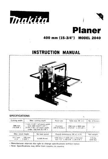 Power Planer Original Instruction Manual Електричний