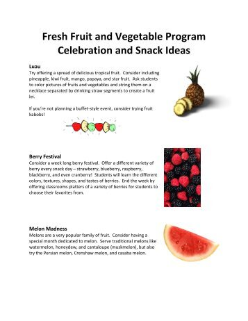 Snack Ideas - WI Child Nutrition Programs (FNS)