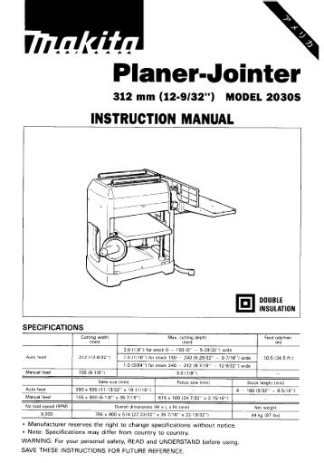 Power Planer Original Instruction Manual Електричний
