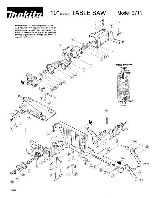 Makita 2708 Table Saw Parts Diagram Wiring Harness Wiring Diagram