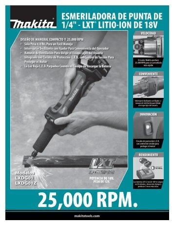 """esmeriladora de punta de 1/4"""" - lxt® litio-ion de 18v - Makita"""