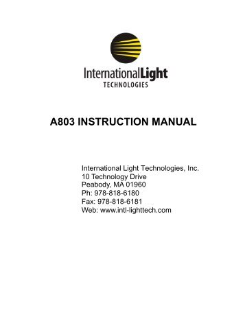 A803 User manual 9-22-11 - International Light Technologies