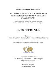 Adaptation of Language Resources and Technology to New ...