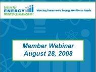 Member Webinar August 28, 2008 Member Webinar 28, 2008