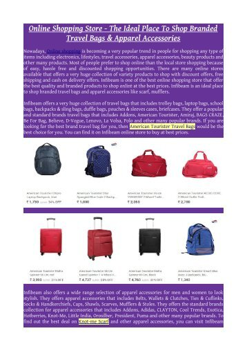 Online Shopping Store - The Ideal Place To Shop Branded Travel Bags & Apparel Accessories
