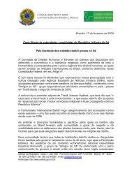 Brasília, 17 de fevereiro de 2009 Carta Aberta às autoridades ...