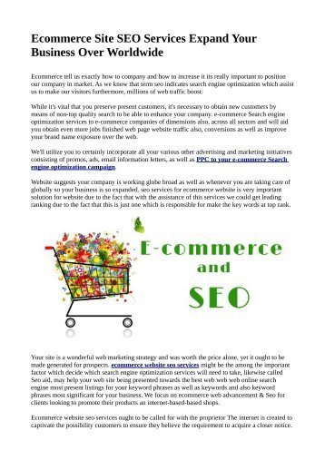 Ecommerce Site SEO Services Expand Your Business Over Worldwide