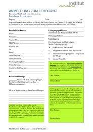 Anmeldung zum Lehrgang. neu-2 - Maininstitut