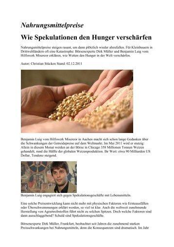 Nahrungsmittelpreise - Wie Spekulationen den Hunger verschärfen