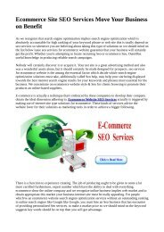 Ecommerce Site SEO Services Move Your Business on Benefit