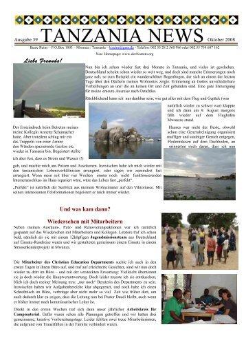 Ausgabe 39 Oktober 2008 - Tanzania!!